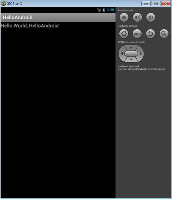 Приложение HelloAndroid в эмуляторе