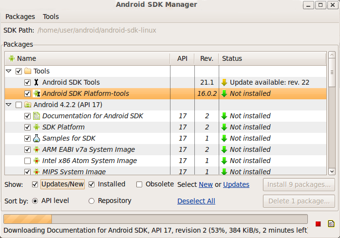 Окно Android SDK Manager